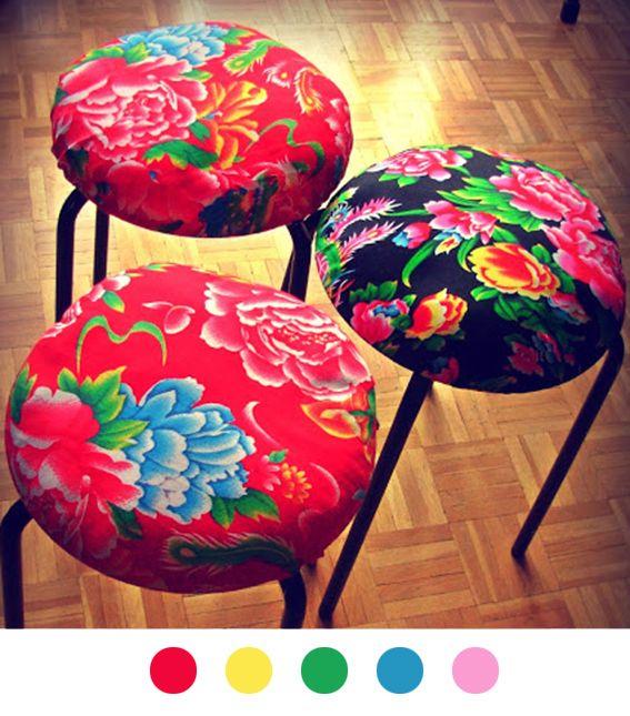 Tabouret diy d co d coration decoration tuto tutoriel stool fabric tissu - Customiser son canape ...
