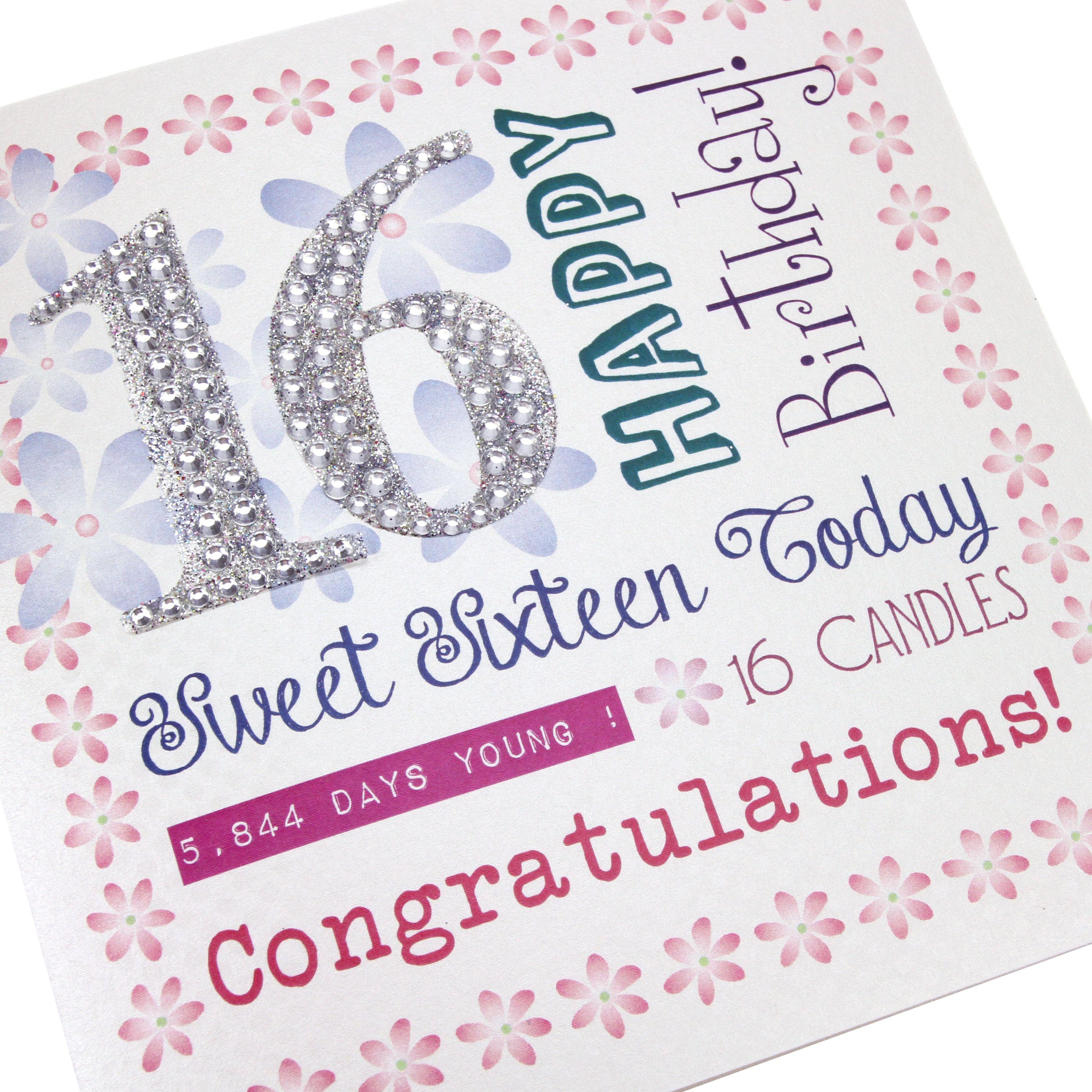 Happy 16th Birthday Gift Ideas Spaceform Sweet Sixteen: Handmade 16th Birthday Card Sweet 16 Pretty Flowers Border
