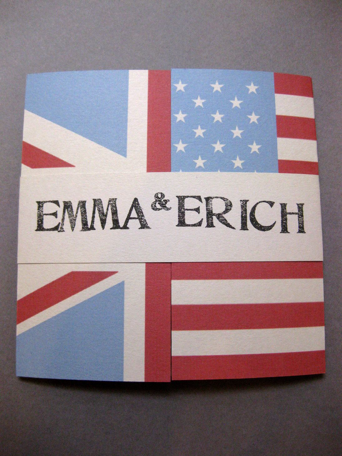 Handmade english and american flag wedding invitation For bespoke ...