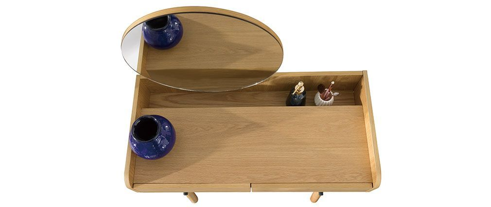 JAPANSK Scandinavian light oak console table with mirror meubles