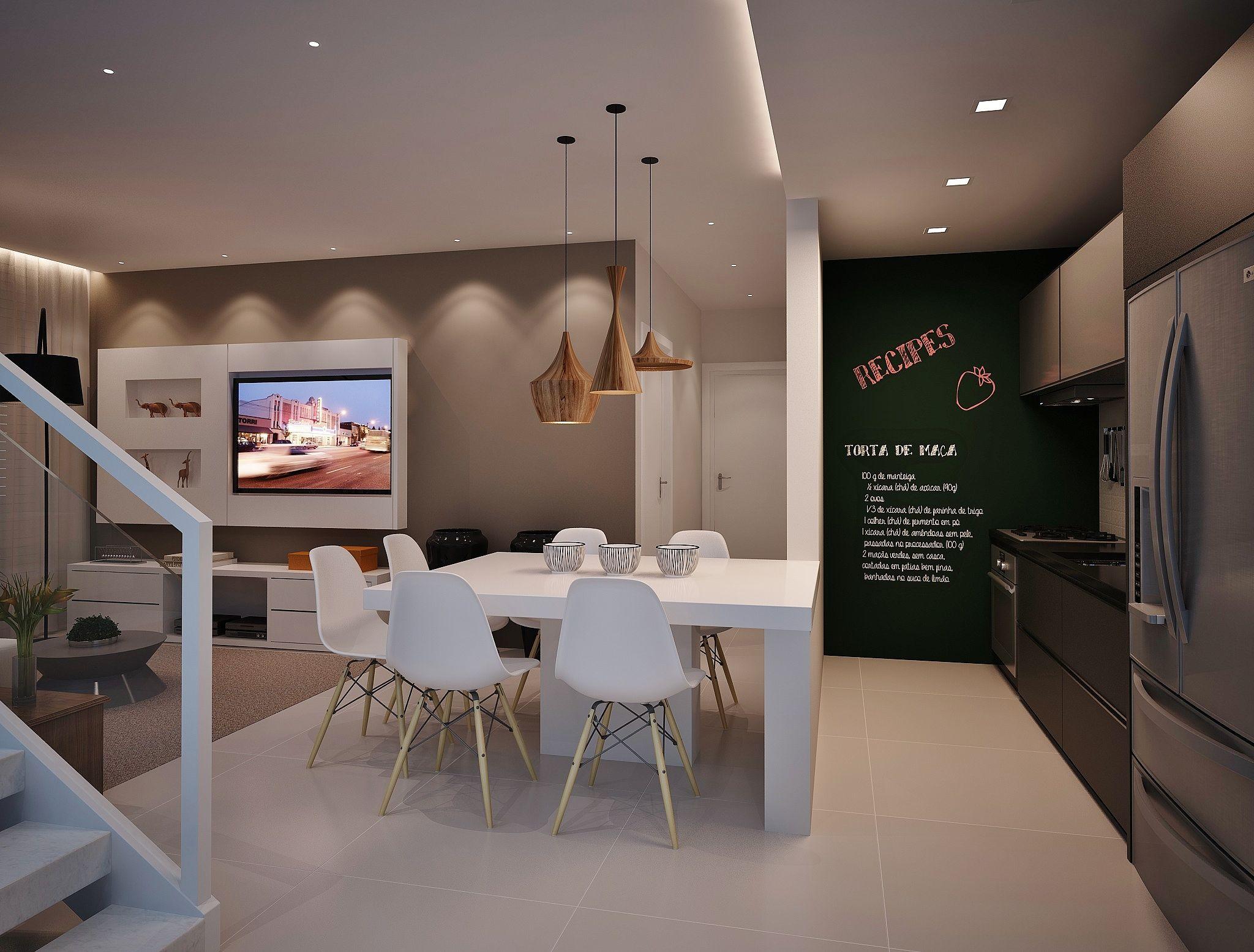 Sala integrada a cozinha americana Gesso Apartamento Pinterest House -> Decoração De Gesso No Teto Da Cozinha
