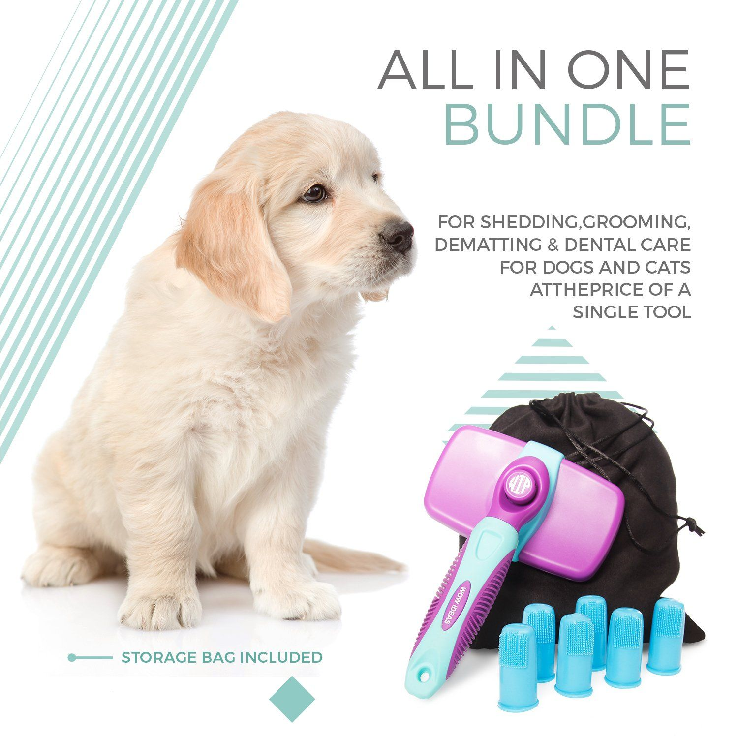 Self Cleaning Slicker Brush And Toothbrush Dental Kit For All Cats And Dogs Pets With Short To Long Hair Reduces Shed Cat Grooming Cat Grooming Tools Dog Cat