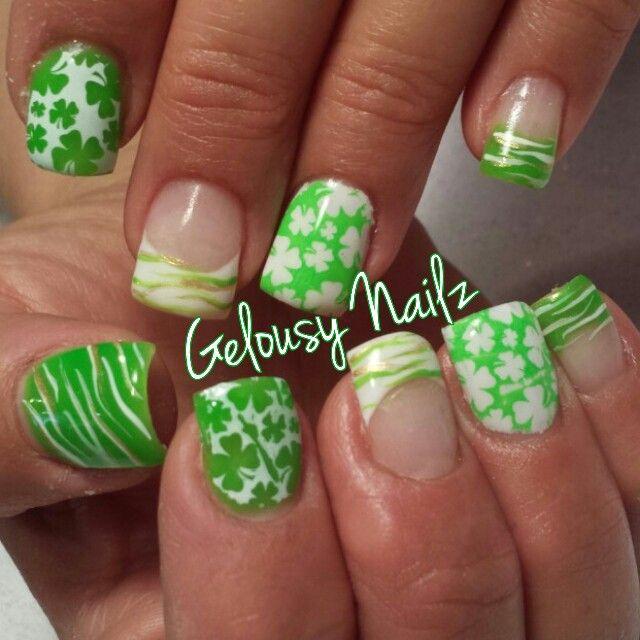 St Patricks Day Nail Design Zebra Clover Nails 3 Nails 3 Nails