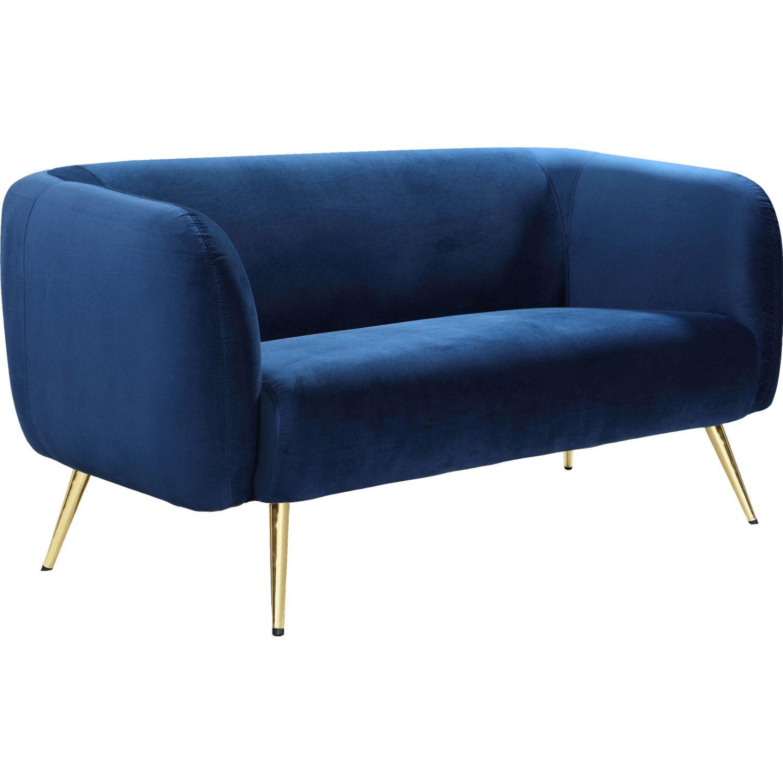 Meridian Furniture 685NavyL Harlow Loveseat Navy Blue