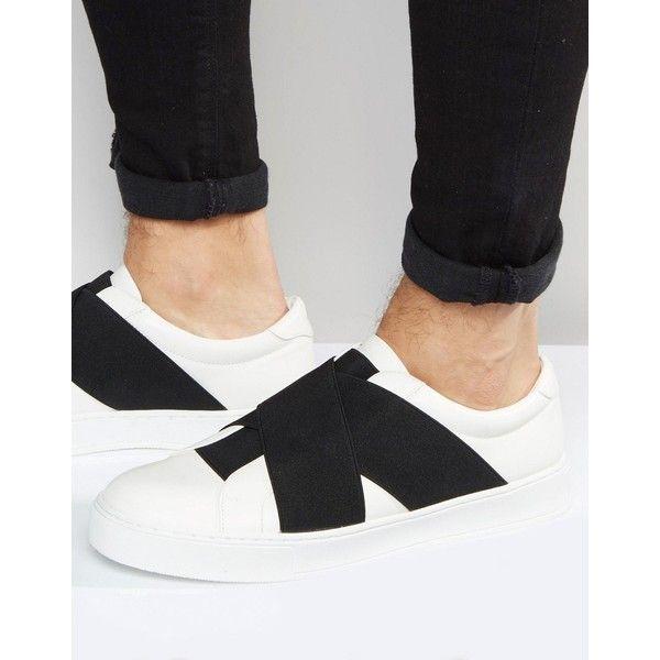 White slip on shoes, Mens slip