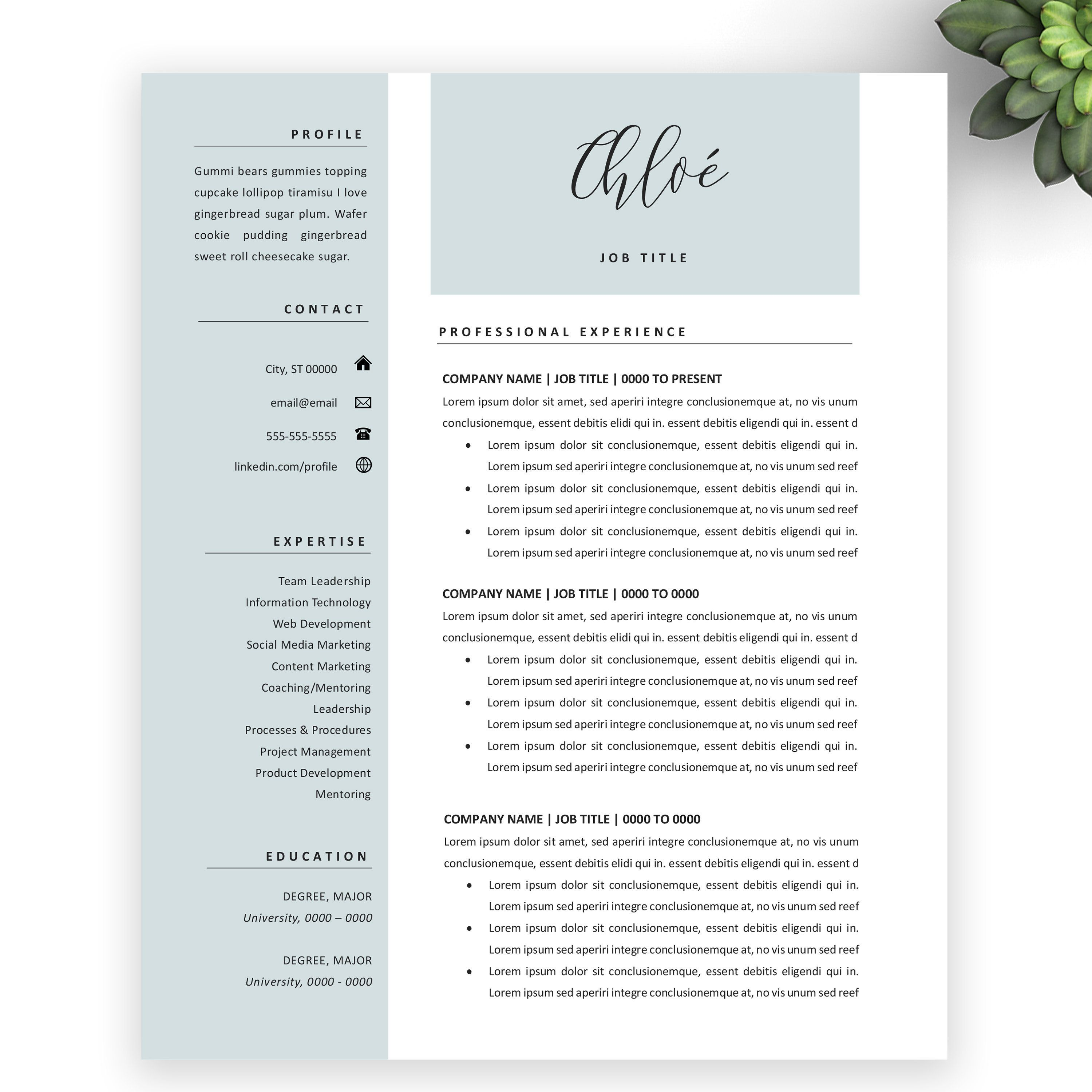 Modern blue resume template for word and pages ats