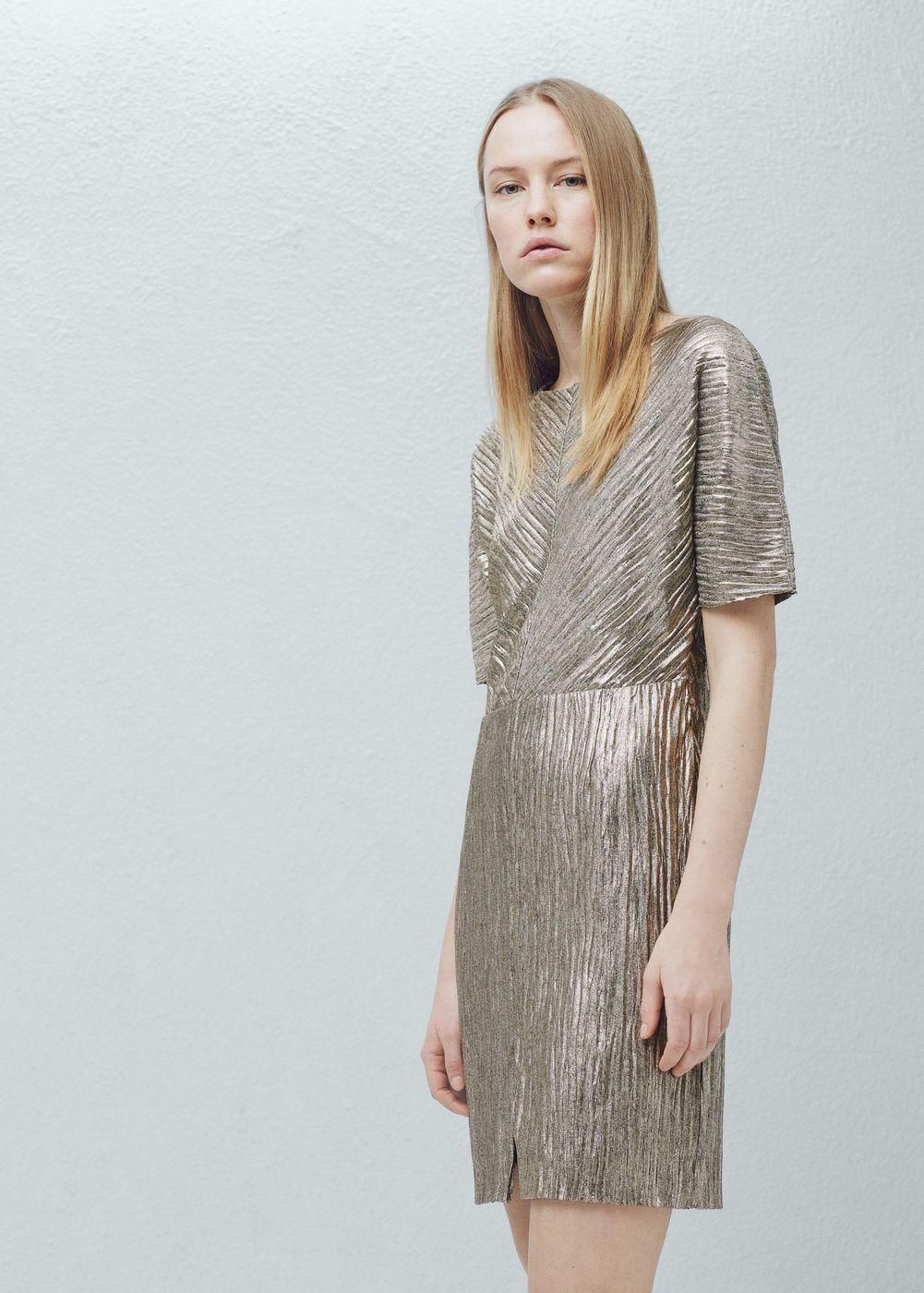 Kjole med metallskimmer - Kjoler for Damer | MANGO Norge