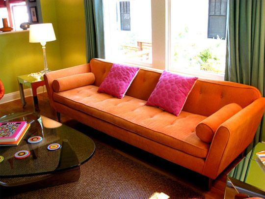 A Rainbow of Reasons to Add Colorful Furniture Orange couch