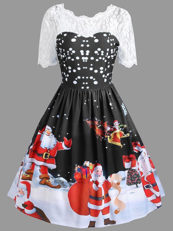 1566d5a27ba0 Vintage Christmas Santa Claus Print Lace Insert Dress - BLACK S ...