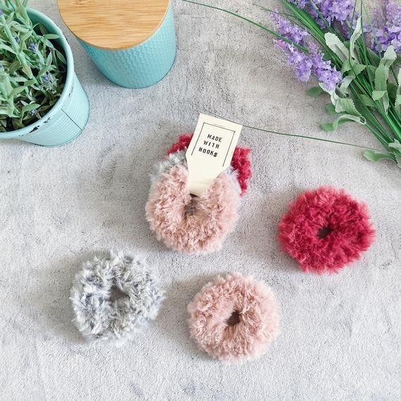 Faux Fur Fluffy Crochet Scrunchies, Set of 3, Hair Scrunchie Pack, Hair Accessories. #crochetscrunchies