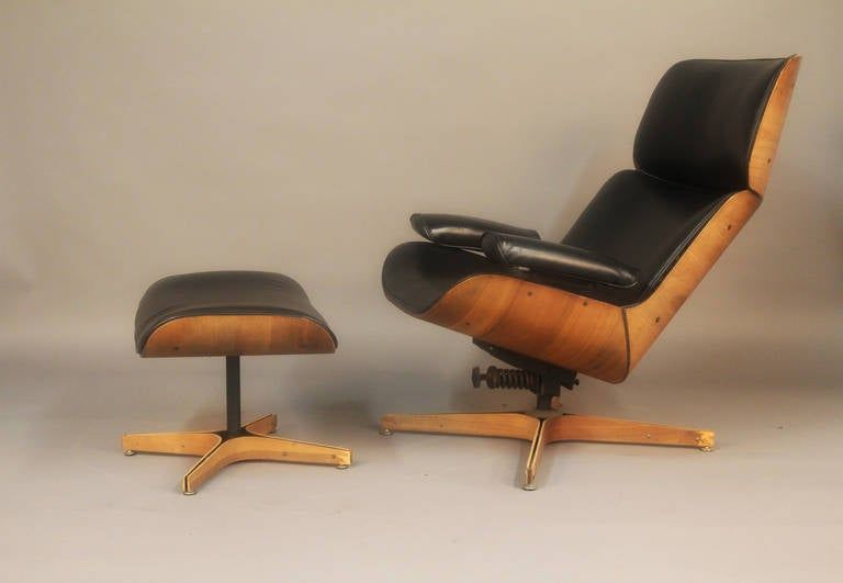 Iconic mr chair lounge and ottoman designed by