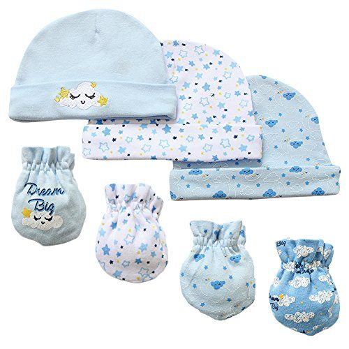 0-6 7 Gloves /& Mittens Piece Scratch Caps Set Infant Newborn Gift For Baby Boys