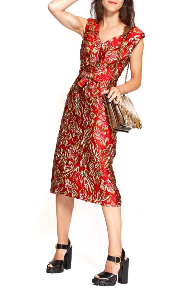 Red & gold brocade dress from Prada