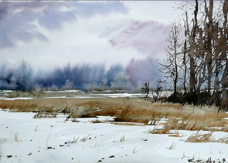 Pingl par arlette accarie garnier sur aqu 39 ville et campagne paysage aquarelle peinture - Paysage enneige dessin ...