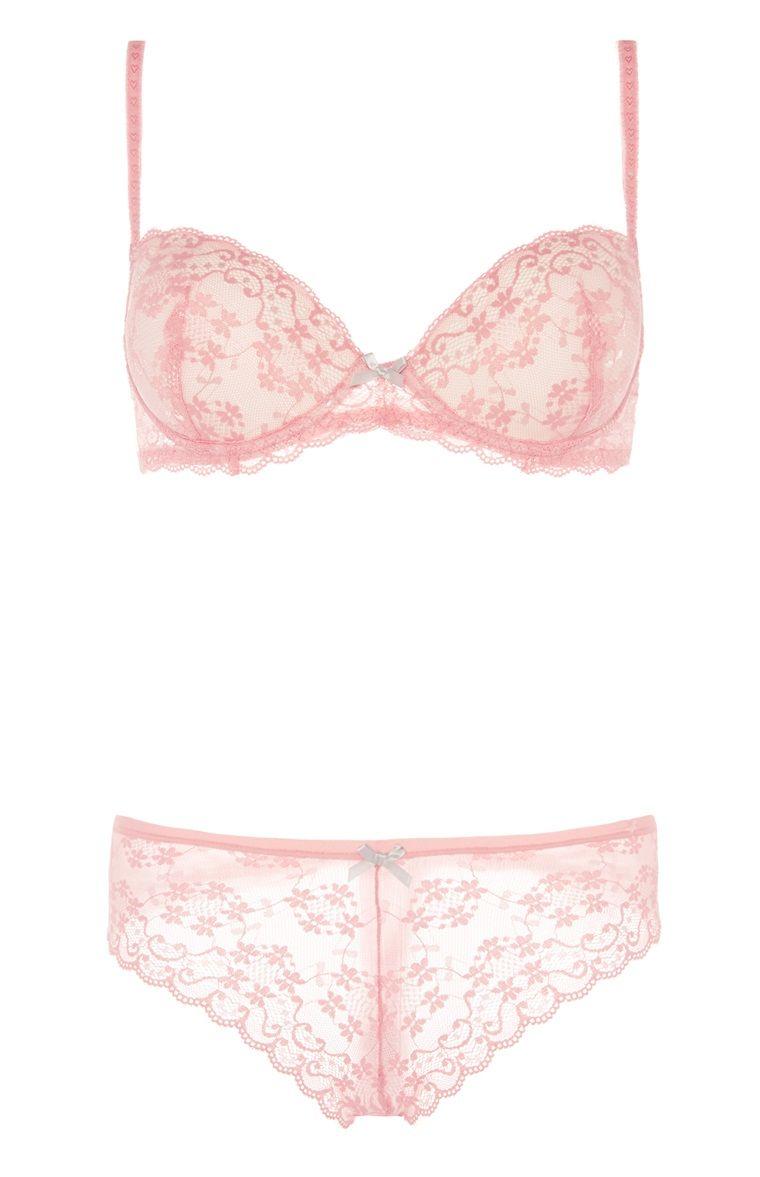 d94ac679ca Coral Solid Lace Bra Boxer Set For Primark Ladies