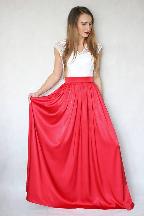 Spoločenské šaty s tylovou krajkou a saténovou sukňou rôzne farby   Dyona -  SAShE.sk - Handmade Šaty a3c2936b86d