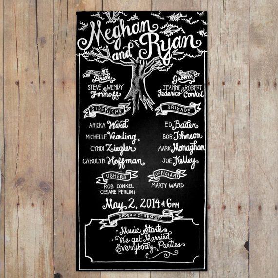 Large Wedding Chalkboard   Program   Hand-Lettered   Custom Chalk Art