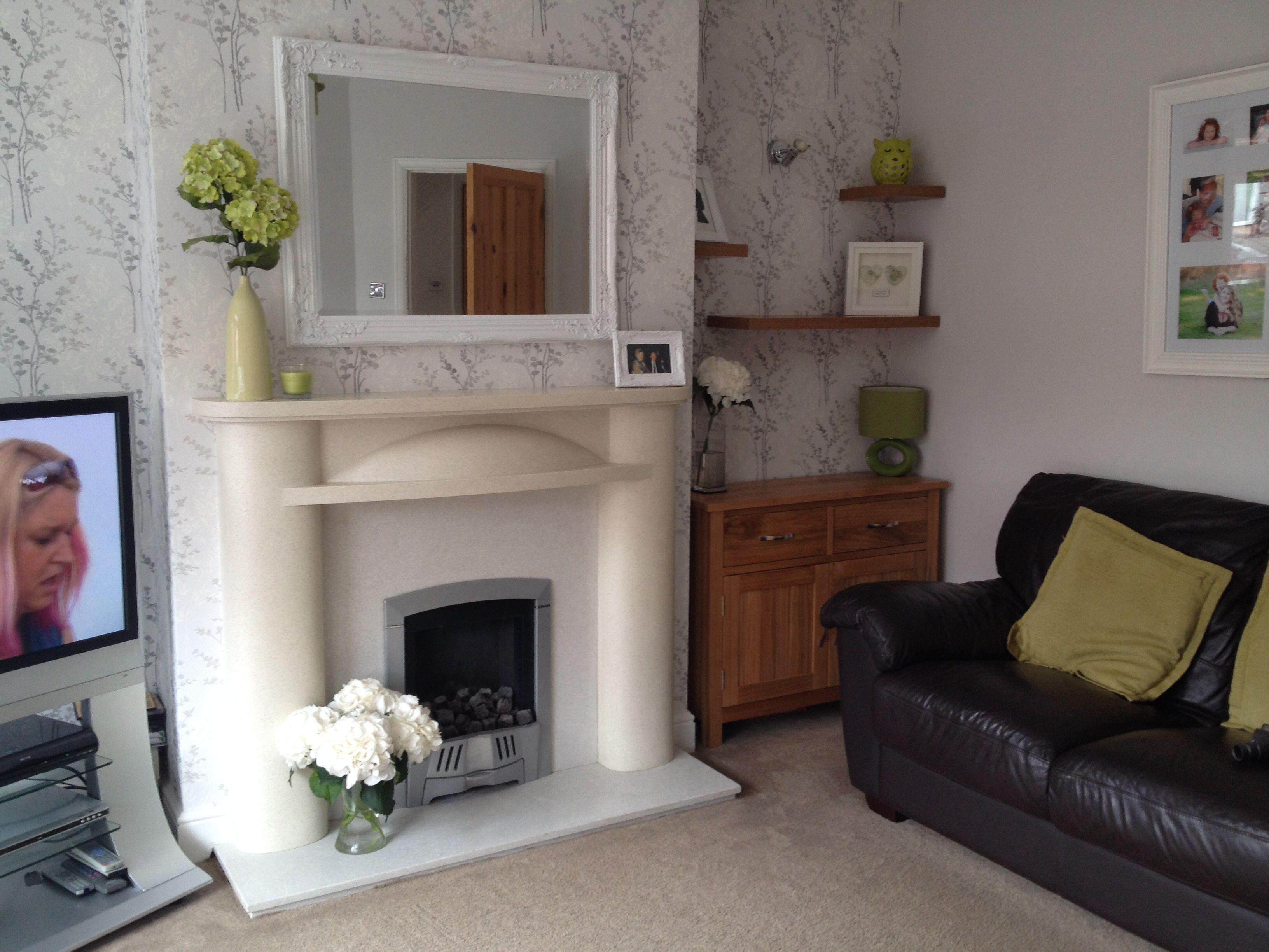 Finished Living Room Lounge Grey Wallpaper Oak Stagg