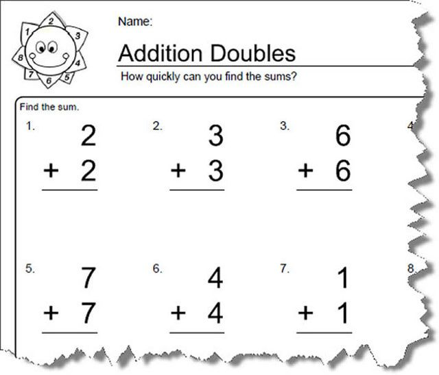 Worksheets For Elementary Math Doubles Addition Doubles Worksheet
