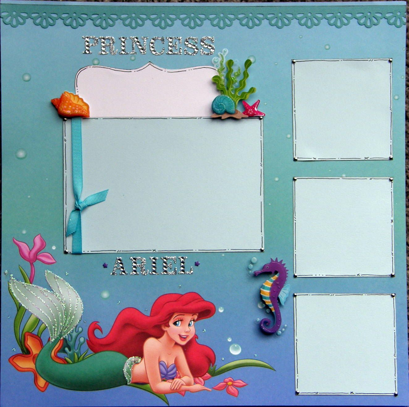 How to scrapbook disney - 12x12 Single Page Scrapbook Layout Disney S Ariel The By Ntvimage 13 99