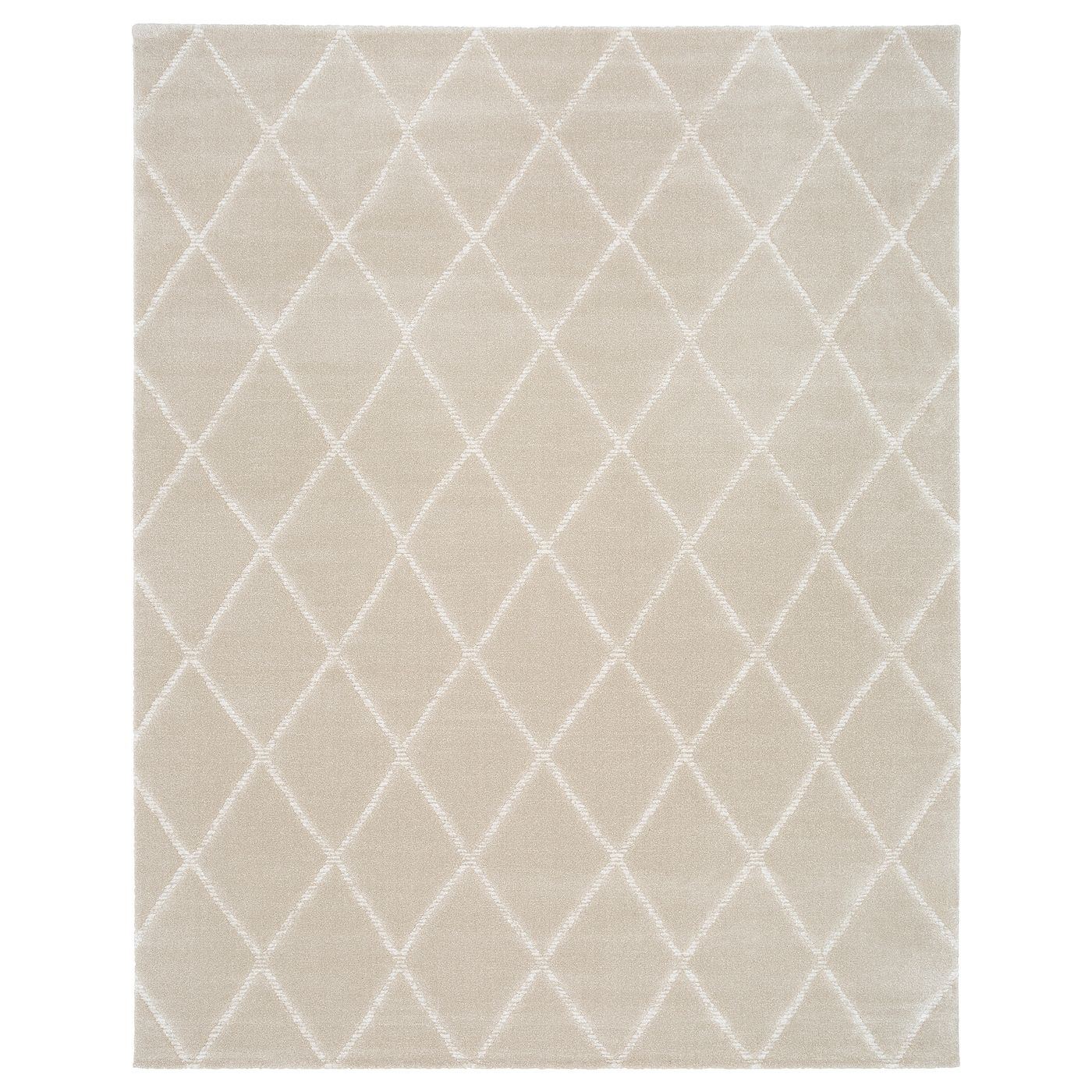 Vantore Rug Low Pile Beige White Diamond Pattern 7 10 X9