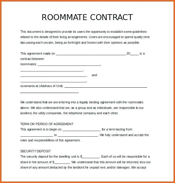 roommate contract template agreement form free download house rules for roommates roommate contract house rules