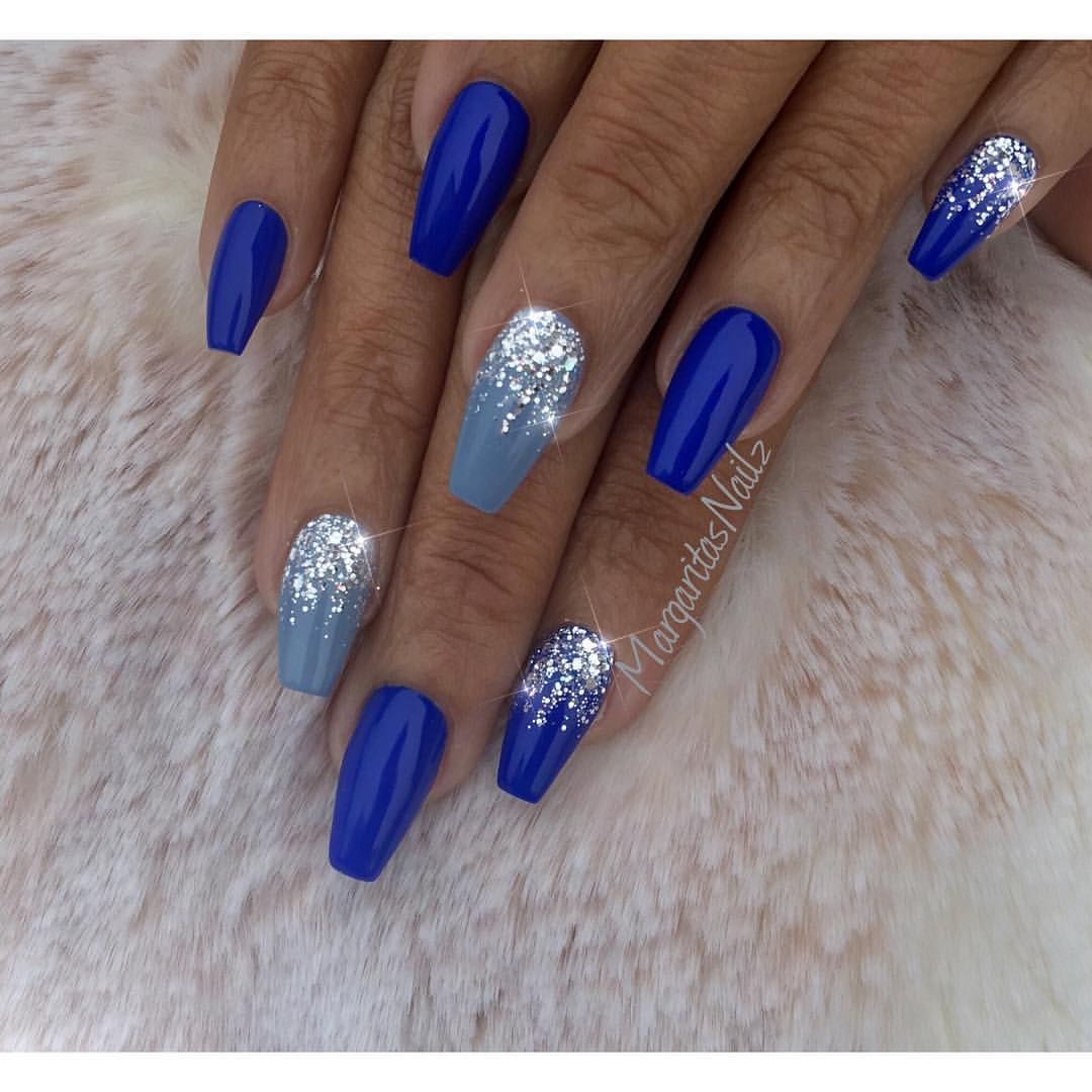 Royal blue coffin nails by margaritasnailz silver glitter ombr nail art design winter nail Fashion style and nails facebook