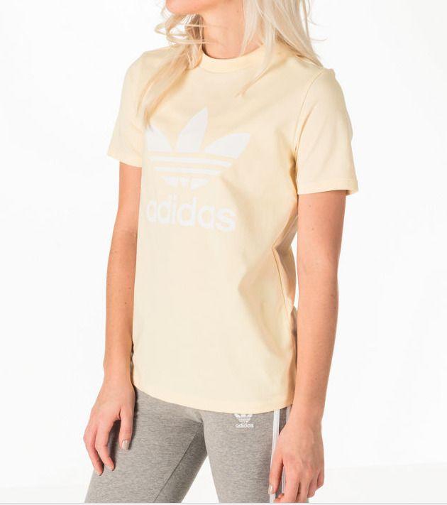 4070d20ec0c New Adidas Womens Original Light Yellow White Logo Trefoil Tee T-Shirt Sz  Medium #adidas #TShirt #Summertime