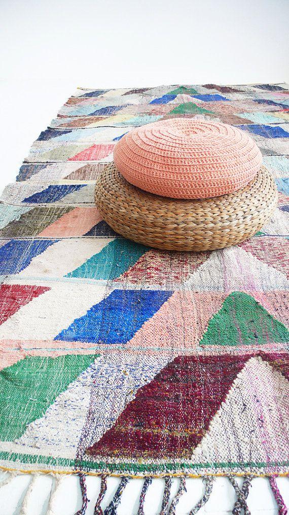 Vintage Moroccan Kilim Boucherouite Rug Arrow Tapis Vintage Et Fl Ches