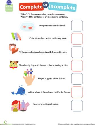 Worksheets: Get into Grammar: Complete or Incomplete?