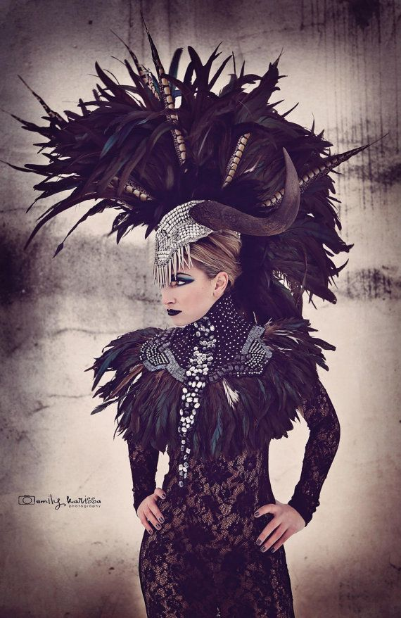 Clearance Wildebeest Horn Feather Mohawk Futuristic Gaga Halloween Rocker Cleopatra Egyptian Fantasy Headdress Headpeice Wig Headdress Fantasy Fashion Fashion