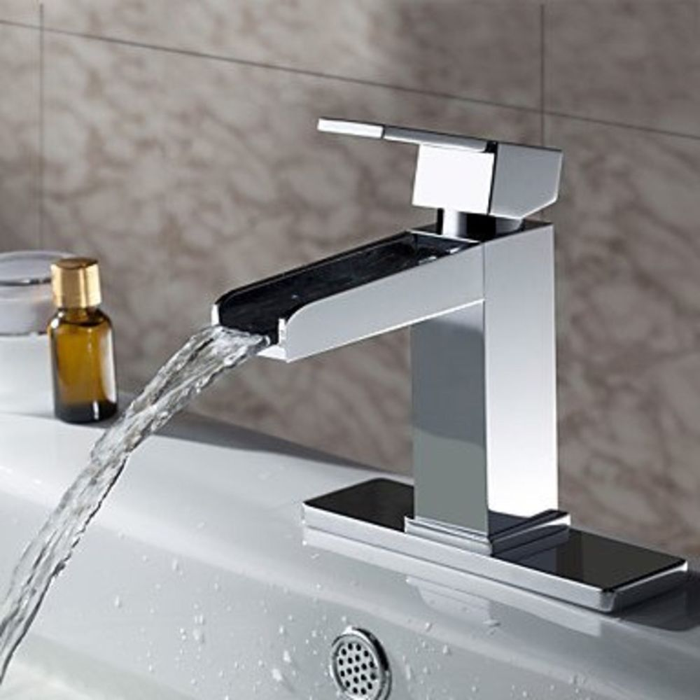 Sprinkle Solid Brass Contemporary Waterfall Bathroom Sink Faucet (Chrome  Finish) #Faucets