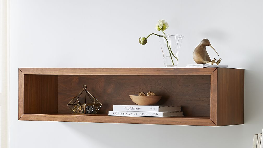 Aspect Walnut 47 5 Floating Cube Shelf Reviews Crate And Barrel Floating Cube Shelves Cube Shelves Shelves