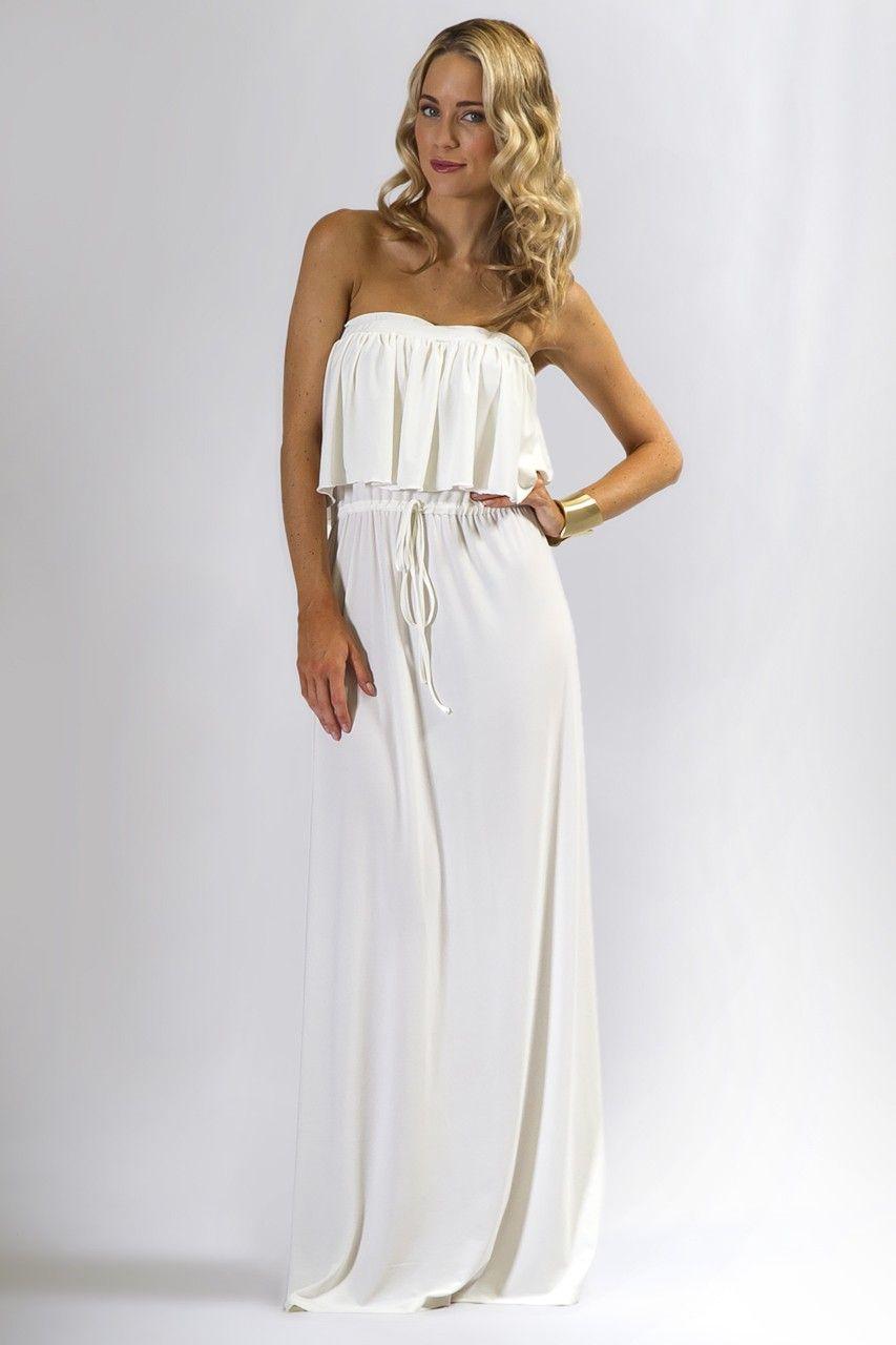 Maxi Dresses Casual White Strapless Maxi Dress White Lace Maxi Dress [ 1280 x 853 Pixel ]