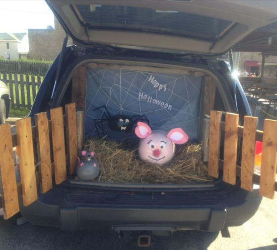 charlottes web trunk or treat so fun could do with hs car because the door opens sideways and could be the fence