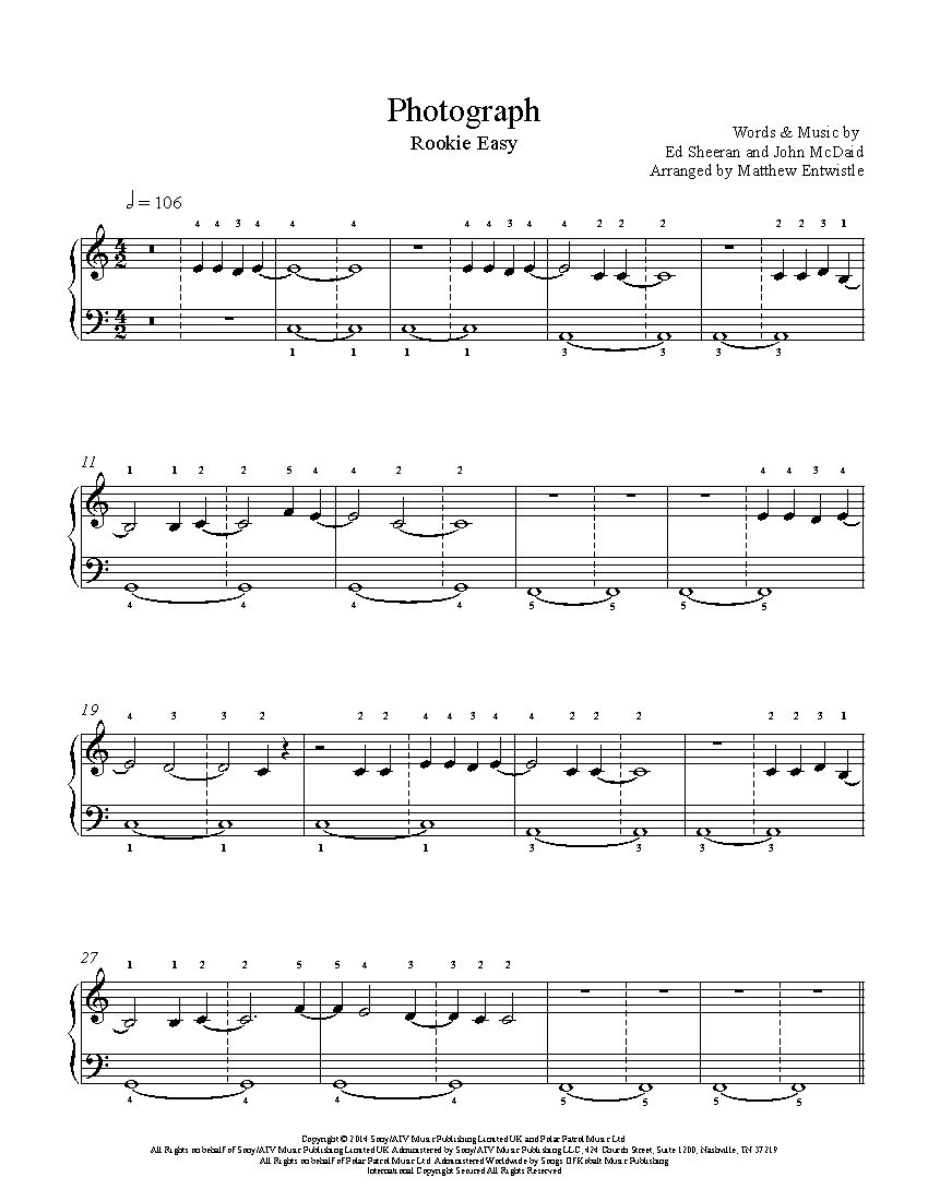 Photograph By Ed Sheeran Piano Sheet Music Rookie Level With
