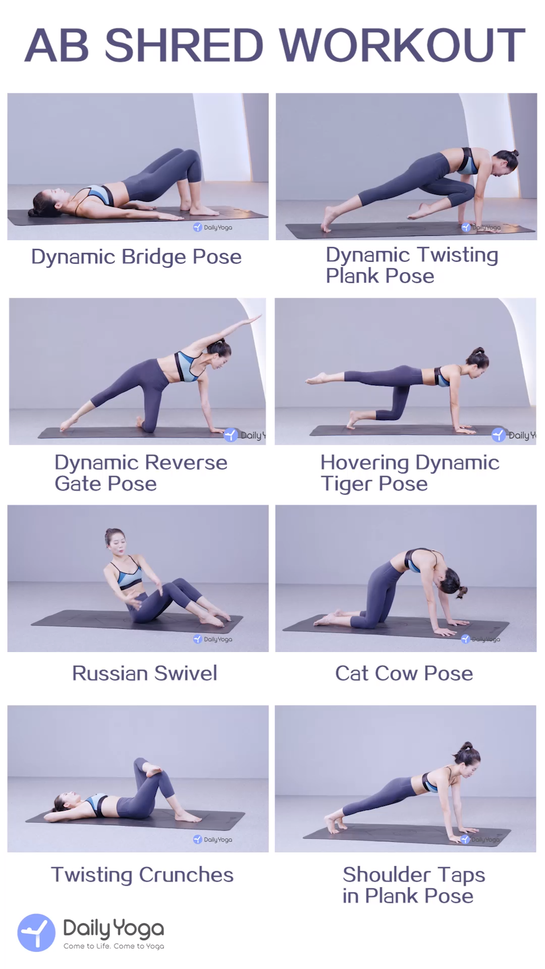 Shred abs and lengthen your body with this ab sculpting workouts. #fitness training videos DailyYoga...