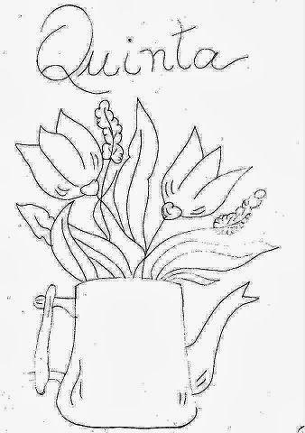 Flores Plantadas Em Vasos E Vasilhas Bordados A Mao Riscos