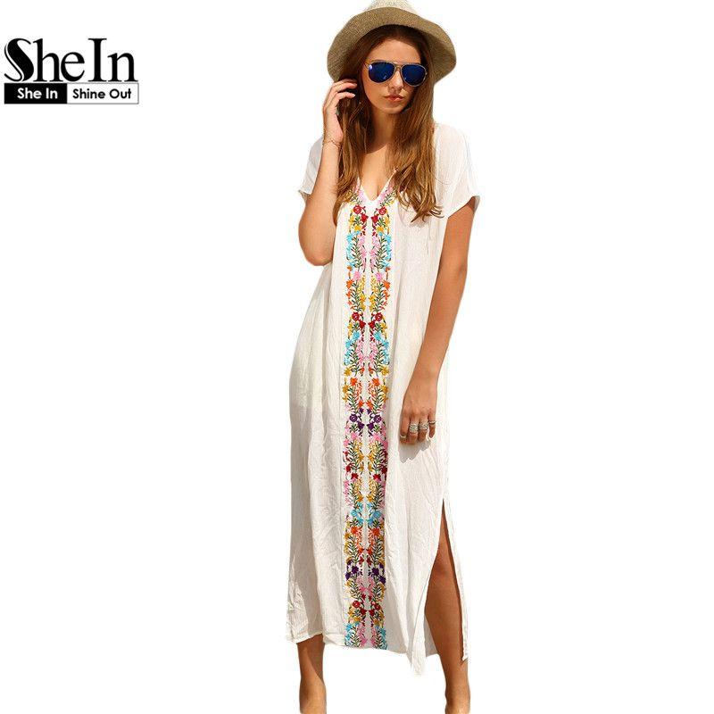 Robes D'été Femmes Shein Longues Blanc Broderie Plage Pour SzVpqUM