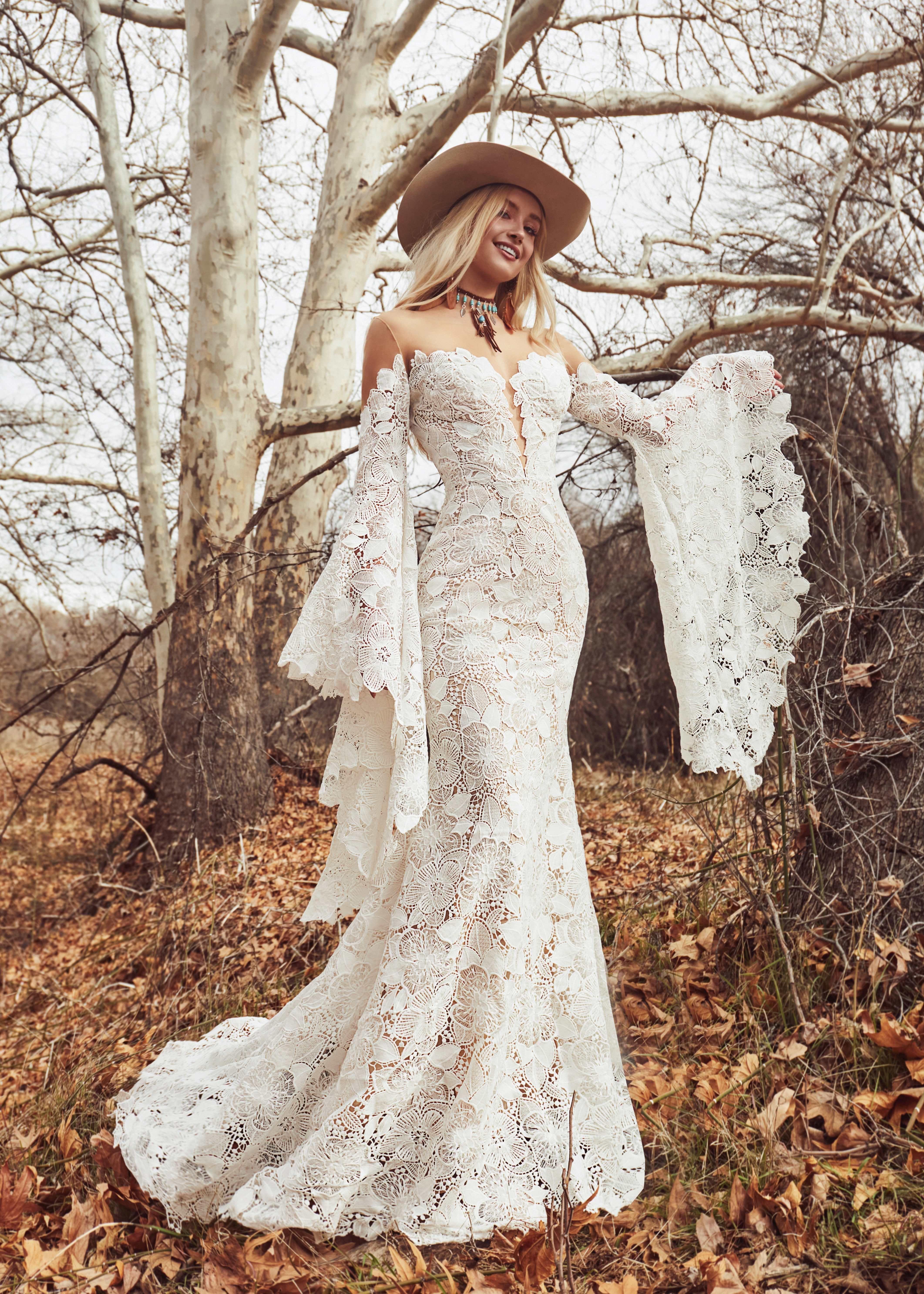 Stevie By La Perle Wedding Dress Long Sleeve Bell Sleeve Wedding Dress Glam Wedding Dress