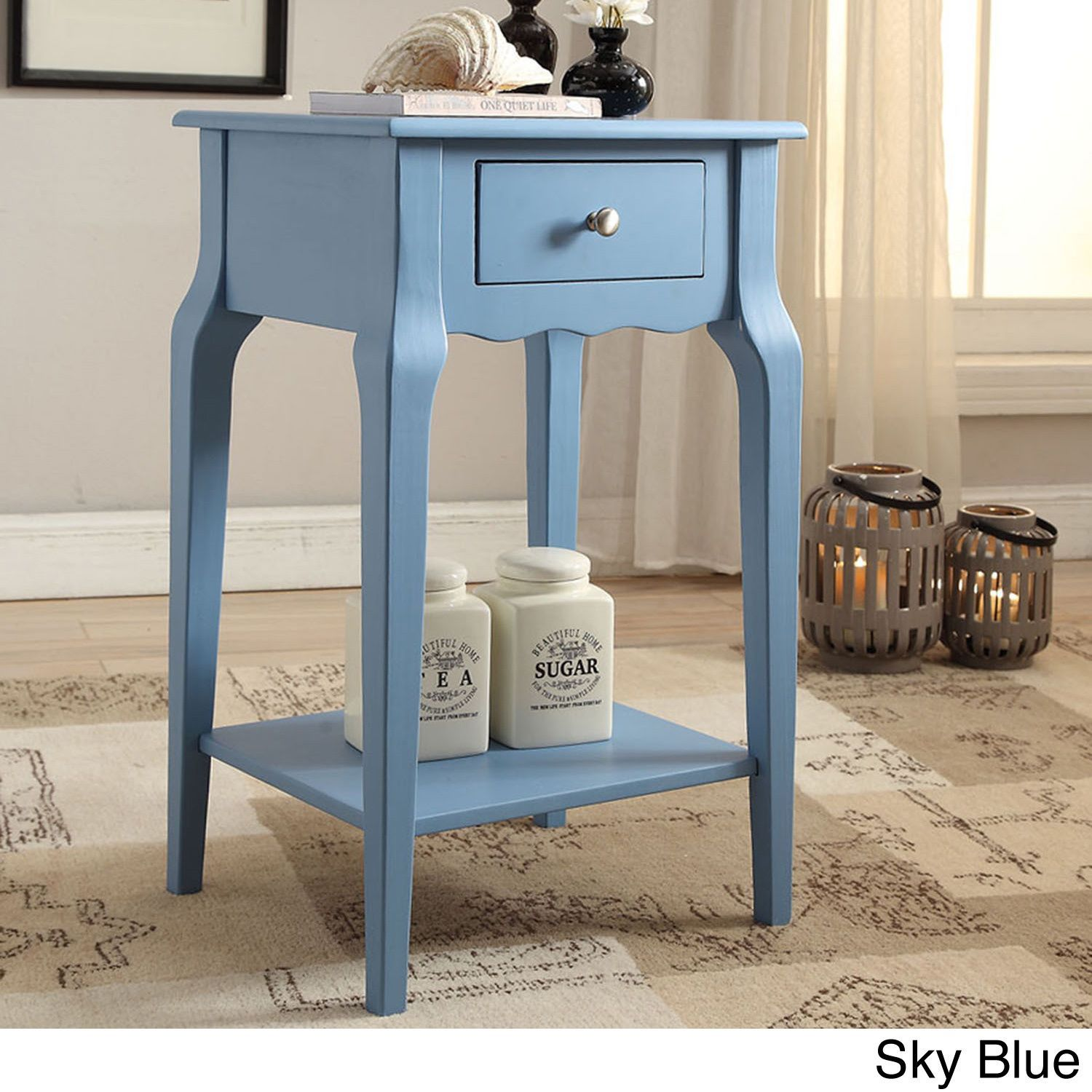 Daniella 1-drawer Wood Storage Accent End Table by Inspire Q (Marine Green)