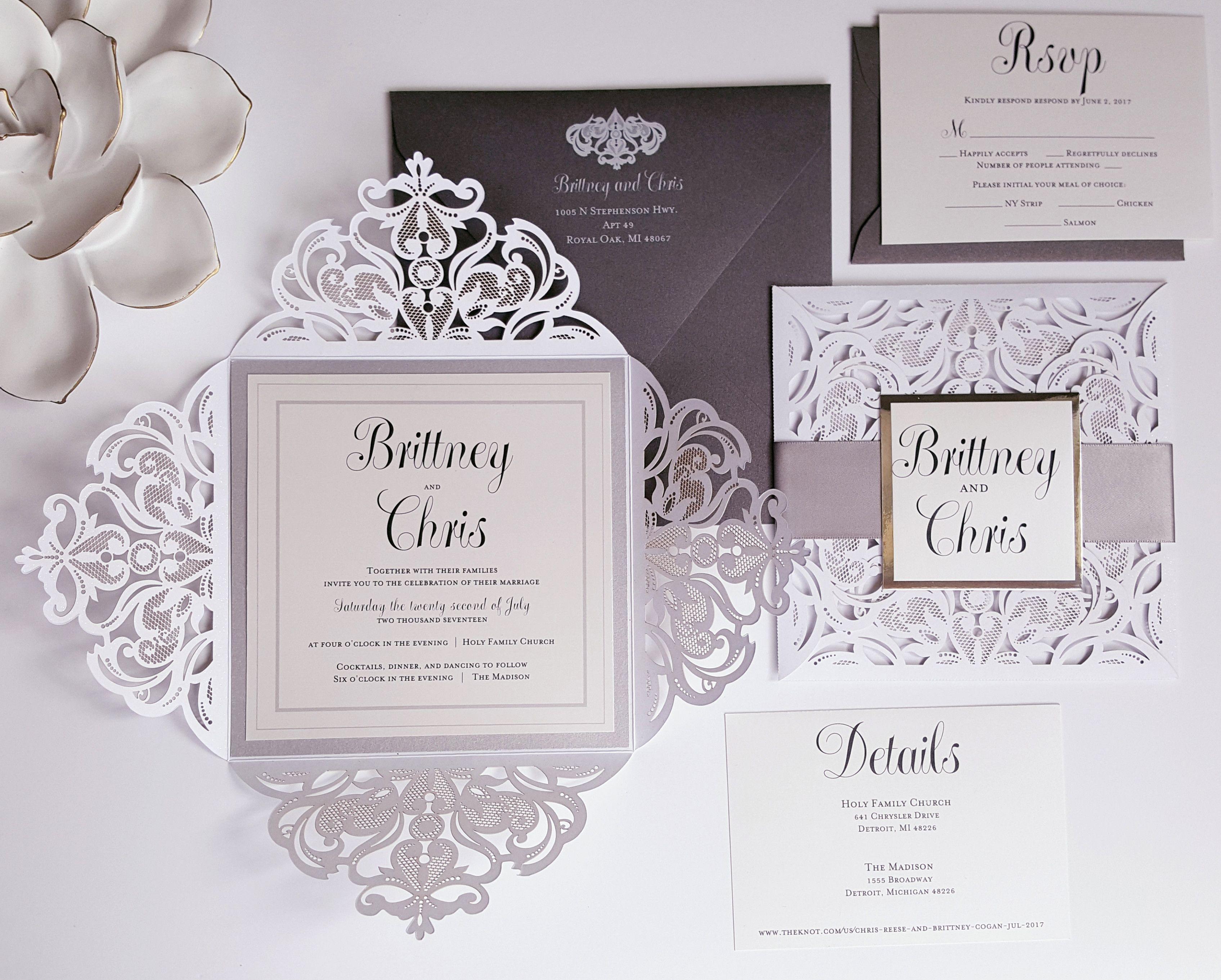 Wedding Invitations Silver And White