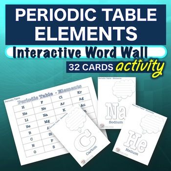 Science - Periodic Table Elements - Interactive Word Wall Activity - new periodic table no. crossword