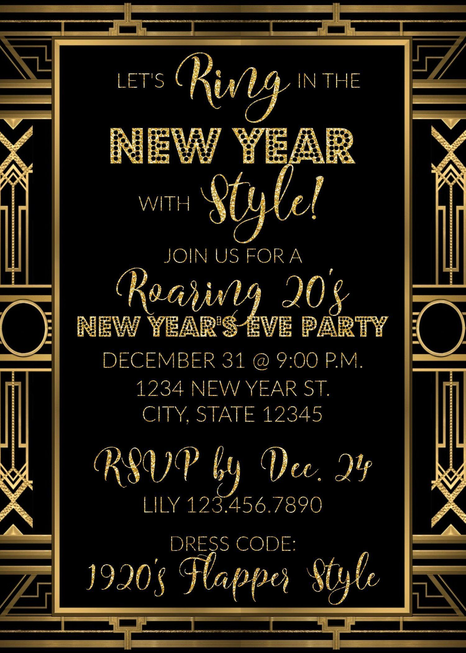 Roaring 20s New Years Eve Party Invitation Ring In The New Year New Years Party Invitation Roaring 20s Party Invitation New Year S Eve Party Themes New Years Eve Party New Years