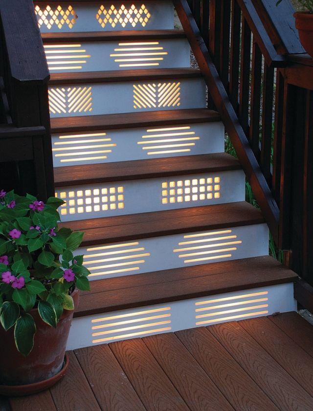 ideen treppenbeleuchtung außen dekorative paneele muster | Modern ...