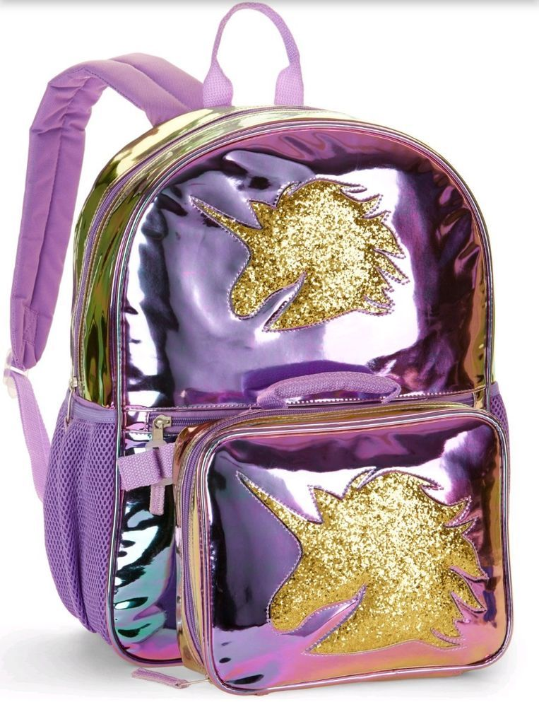 a07a4f80bbc7 UNICORN Horse Backpack Lunch Box Bag GLITTERY METALLIC PURPLE NEW 2 PIECE  SET
