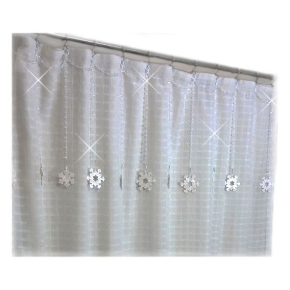 Sparkling Snowflakes Shower Curtain Bling By Showercurtainbling