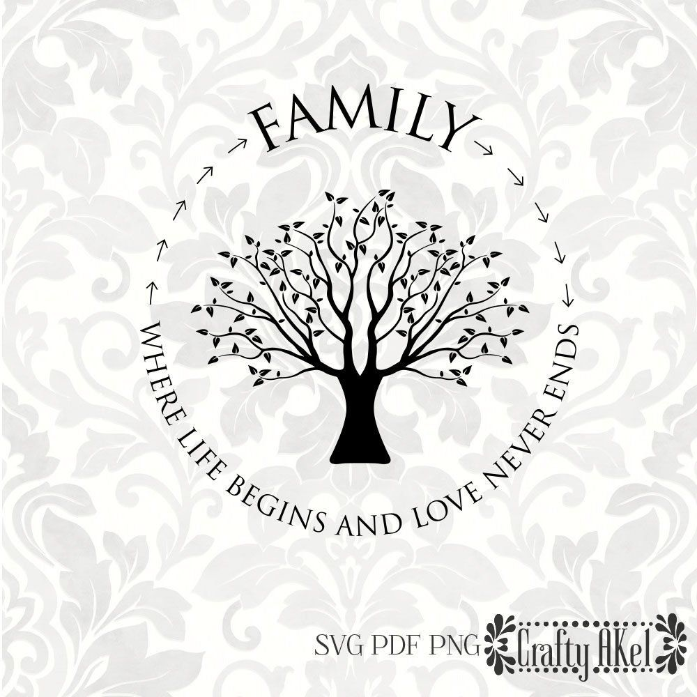Family Where Life Begins And Love Never Ends Family Tree Family Quote Tree Svg Pdf Png Digital File Vec Family Tree Quotes Family Tree Etsy Tree Quotes