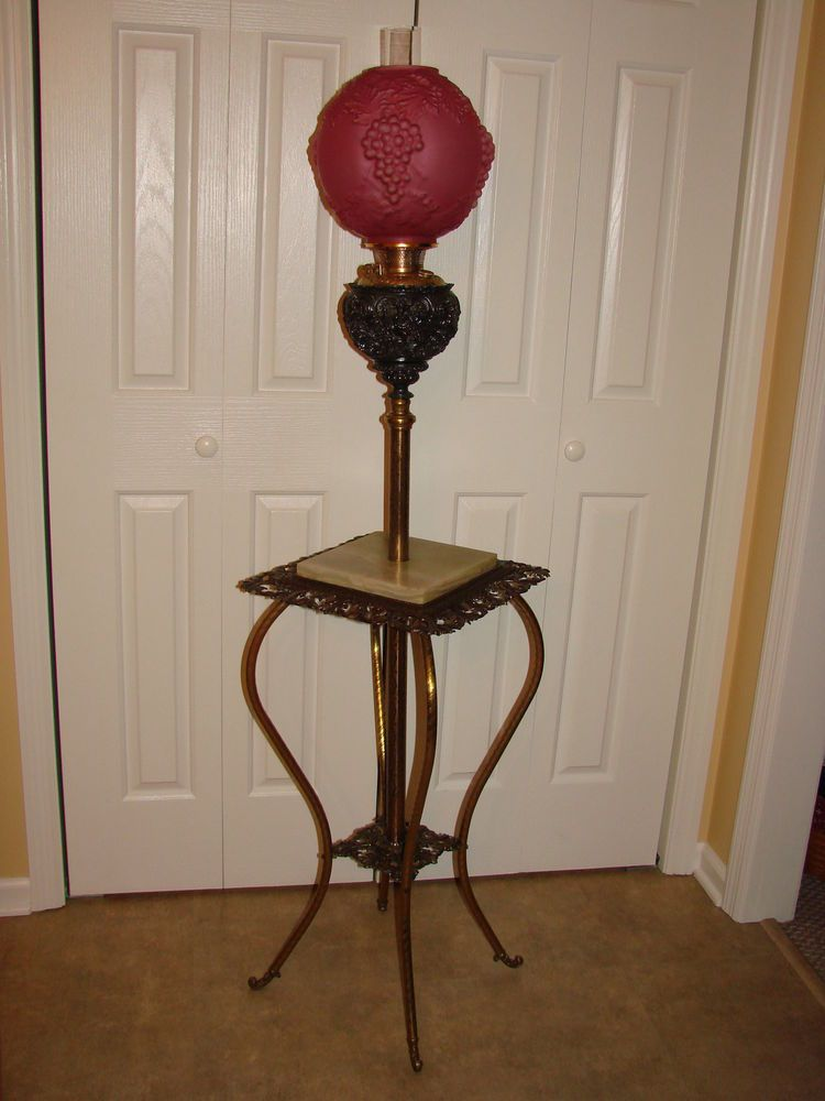 Antique Bradley Hubbard 1890 S B H Oil Lamp Victorian Cherubs