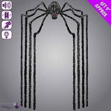 Animated Hanging Giant Black Spider with Light Up Eyes Halloween Decoration Prop